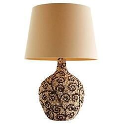 Beautiful Floral Mosaic Patterned Sea Shell Cluster Lamp W/ Shade