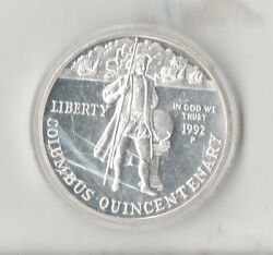 1992 P Christopher Columbus Proof Silver Dollar Free Shipping