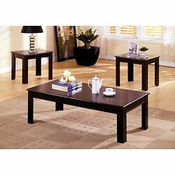 Wood Coffee Table Set End Tables 3-pieces Espresso Finish Living Room Furniture