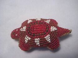 Native American Beaded Leather Turtle Fetish Northern Plains Amulet...co-362