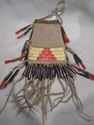 Plains Quilled Medicine Bag, Native American Indian Tobacco Pouch, Port-775