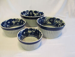 Vintage Lapid Israel Pottery 4 Pc Stoneware Bowls Ribbed And Hand Painted Signed