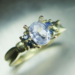 0.90cts Natural Light Lavender Blue Sapphire 9ct 375 Yellow Gold Ring