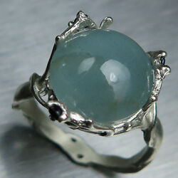 6.15ct Natural Blue Aquamarine And Sapphire 925 Sterling Silver / Gold Flower Ring