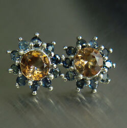 Natural Imperial Topaz Silver 9ct 14k 18k Yellow White Rose Gold Stud Earrings