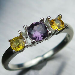 Natural Purple Spinel And Sapphire 925 Silver/ Gold / Platinum Engagement Ring