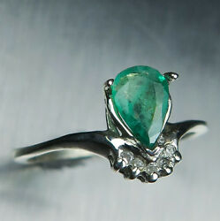 Natural Zambian Emeralds And Diamond 925 Silver Gold Platinum Engagement Ring