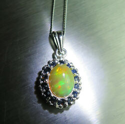 1.6ct Natural Rainbow Welo 925 Sterling Silver / 9ct 14k 18k Gold Pendant