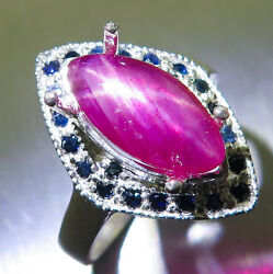 Natural Star Ruby And Sapphires 925 Silver, Gold, Platinum Engagement Ring