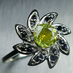 Natural Yellow Sphalerite And Sapphire 925 Silver Gold Platinum Engagement Ring
