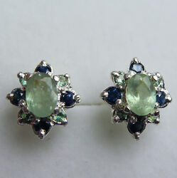 Natural Colour Change Alexandrite And Sapphires 925 Sterling Silver Stud Earrings