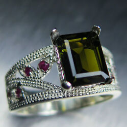 Natural Dark Green Tourmaline And Ruby 925 Sterling Silver Ring