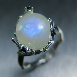 Natural Blue Rainbow Moonstone Andsapphire 925 Silver /9ct 14k 18k Gold Ring