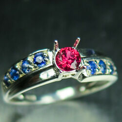 Natural Red Spinel And Sapphire 925 Silver Gold Platinum Engagement Ring
