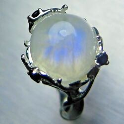 6.6ct Natural Blue Rainbow Moonstone 925 Silver /9ct 14k 18k Gold Unisex Ring