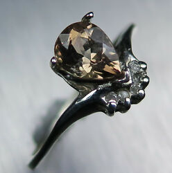 0.8ct Natural Axinite And Diamond 925 Silver Gold Platinum Engagement Ring