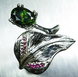 1.60ct Natural Green Zircon And Ruby Sterling 925 Silver Ring