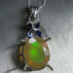 Natural Rainbow Welo Opal And Sapphires 9ct 14k 18k Yellow White Gold Pendant