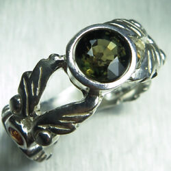 Natural Kornerupine Green Brown 925 Silver 9ct 14k 18k 375 585 750 Gold Ring