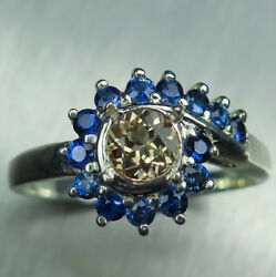 0.55ct Natural Axinite And Sapphires 925 Silver /14k 18k Gold Platinum Ring