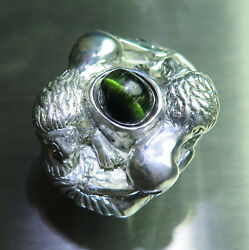 4.55ct Natural green Cat's eye tourmaline 925 silver  Gold unisex lions ring