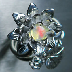 2 Rings Natural Welo Opal 925 Silver Gold Water Lily Stackable Engagement