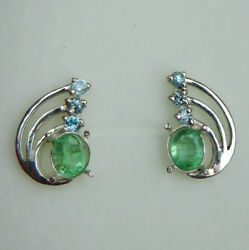 Natural Emeralds And Zircon 925 Silver 9ct 14k 18k Yellow White Gold Stud Earrings