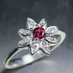 Natural Red Spinel And Diamonds 925 Silver /9ct 14k 18k Gold Platinum Ring
