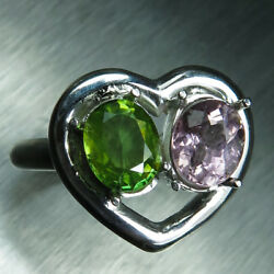 Natural Tourmaline And Sphene 925 Silver 9ct 14k 18k Gold Engagement Heart Ring