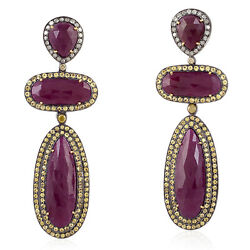 Yellow Sapphire Ruby Pave Diamond 18k Gold 925 Sterling Silver Earrings Jewelry