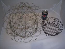 2 Primitive-vintage Multi-positionscalloped Wire Basketsfrench Country Farm