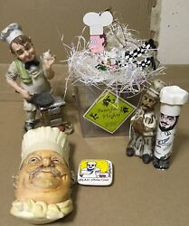 Chef Cook Home Decor Figurine Lot Of 6 Bossons Chalkware Rossi Silvestri Magnet