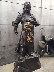 100'' tall Guangong Bronze Statue Withe A Sword Carve Dragon