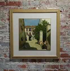 Lucio Sollazzi -Grandpa's afternoon in an Italian village -Oil painting c1960s