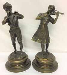 0190 BEAUTIFUL PAIR OF BRONZE STATUES SIGNED LANCINI