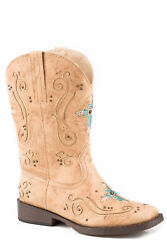 Roper Crystal Cross Girls Kids Tan Faux Leather Faith Cowboy Boots $81.99