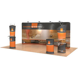 17ft Curved Portable Fabric Tension Exhibition Display System With Graphic #02
