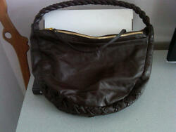 NEW Carrie Valentine Brown Leather Hobo Double Zipper RARE FIND $95.00