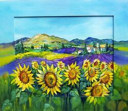 RARE FRENCH PROVENCE PAINTING SUNFLOWERS LAVENDER W PAINTED FRAME BETTY WITTWE!