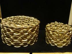 Best Offerrare Lovely 2pc Vintage Gold Leaf Bronze Chain Lid Jewelry Box Casket