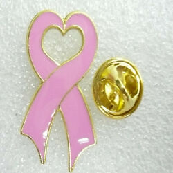 Wholesale Lot Of 12 Pink Ribbon With Heart Middle Lapel Hat Pins Fast Shipping