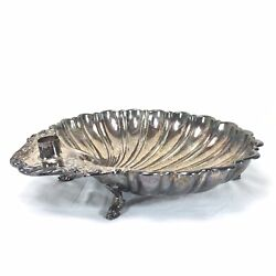 Silver Plate Dolphin Footed Clam Shell Shaped Appetizer Bowl Server Crescent 60s