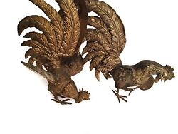 Pair Of Antique Patina Brass Fighting Rooster Figurines