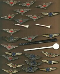 Total Of 27 Airline Pins , Stick Ons , Stir Sticks , And Golf Tee Items