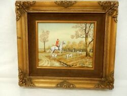 Vintage C. Carson Silk Screen Oil Painting Hunting With Dogs 16x14