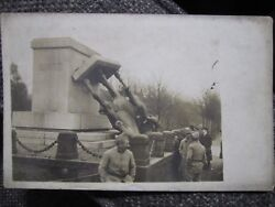 Rare Image Of The Toppling Of A Statue Of Kaiser Frederick Iii C. 1918 Wwi