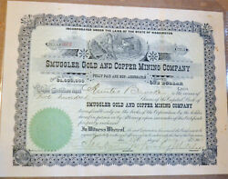 Smuggler Gold And Copper Mining Company 1906 Antique Stock Certificate