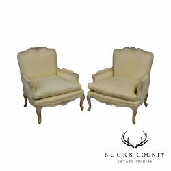 French Louis Xv Style 1940and039s Vintage Pair Paint Frame Bergere Chairs