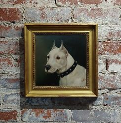 Edward Airstrop -Portrait of a Bull Terrier-English Oil painting c.1900s