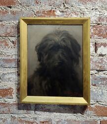 William Hardie Hay -Portrait of a beautiful Black Terrier Dog -oil painting